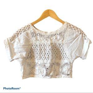 RIP CURL white cotton crochet crop top